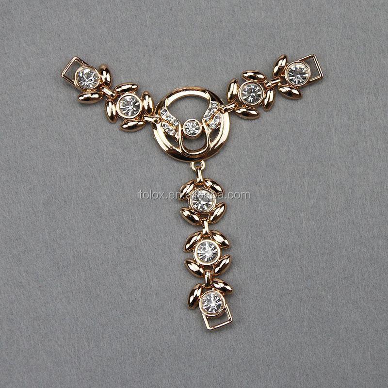 crystal closure chain for metal crystal chain for sandal shoe material