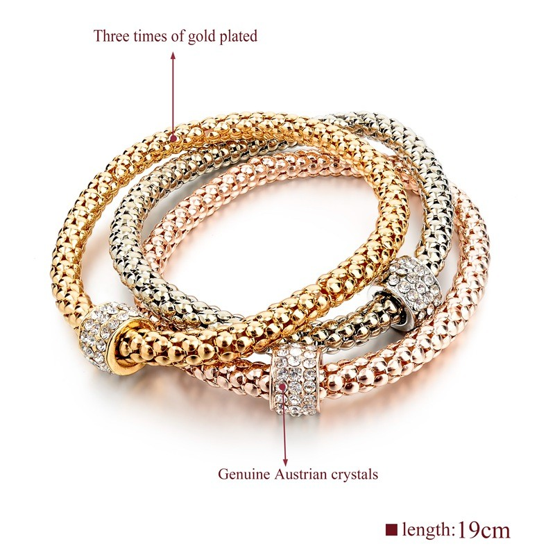 Fashionable three pieces of gold plated bracelet ,stackable genuine crystal charming bracelet, elastic bracelets