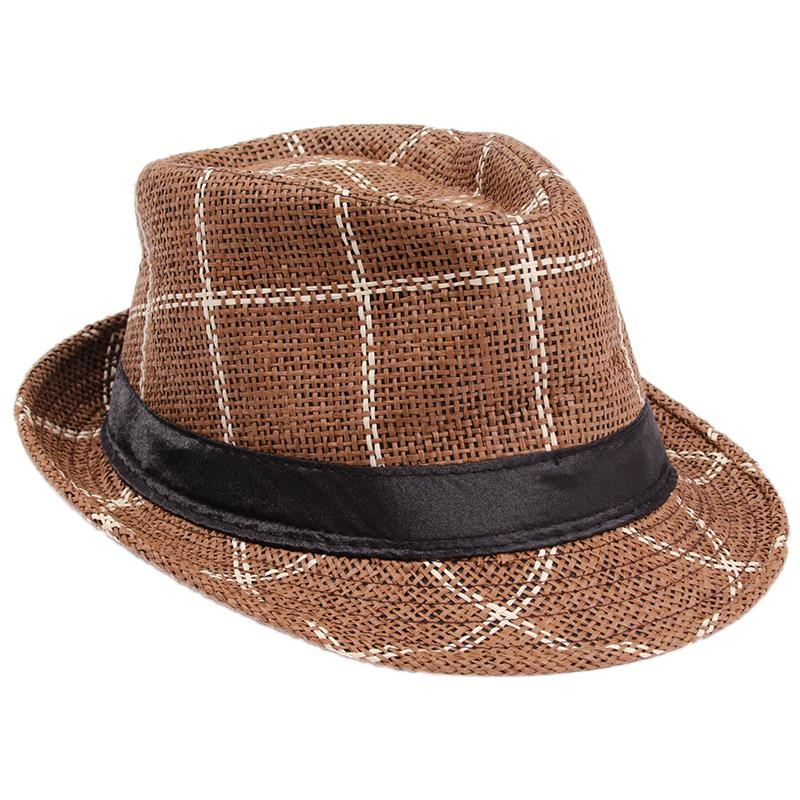 Get Quotations · New Straw Fedoras Hats for Women Men Panama Fedora Summer  Style Beach Sun Jazz Mens Hat a14c2764af5e