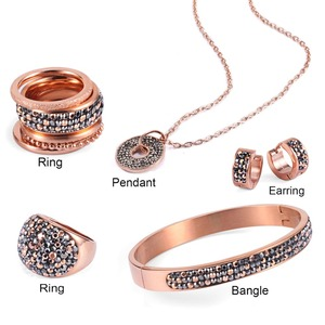 Shades of Grey Marcasite Fashion Jewellery Women China Wholesale Rose Gold Plated Stainless Steel Jewelry Set