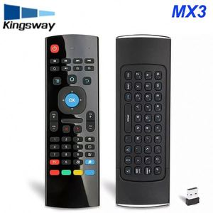 MX3 M 2.4G Remote Control Qwerty Wireless Keyboard+Air Fly Mouse+IR Smart Remote Control with mic For Android TV Box PC Tablet