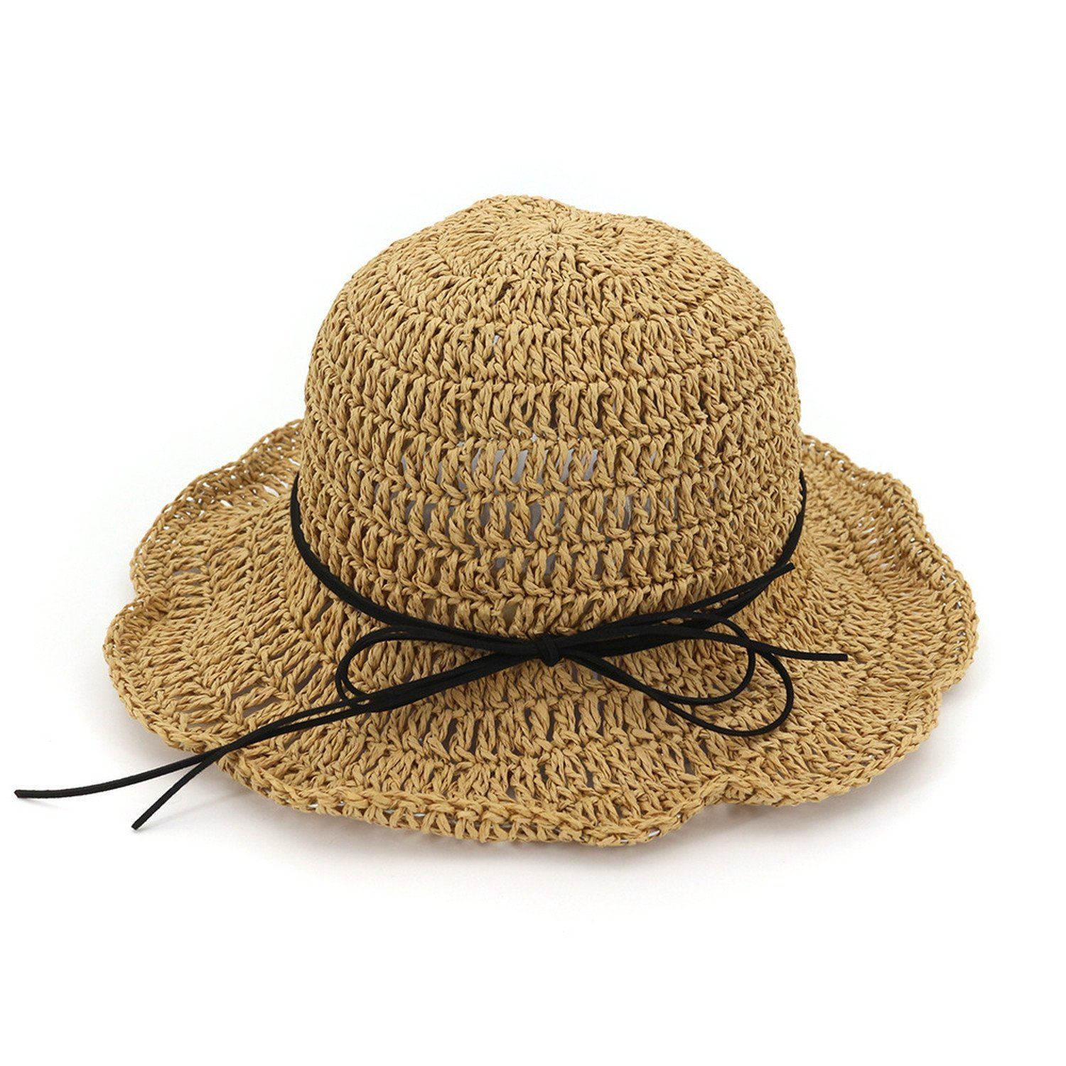 Spring and summer new parent-child straw hat travel manual beach hat children bow sun shade sunscreen female,Khaki,Children's section