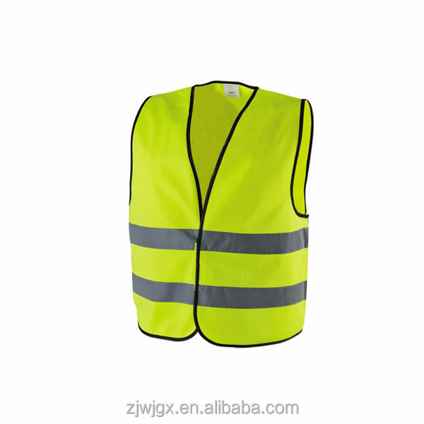 100% Polyester Men/Women Hi-Vis Reflective Safety Vest with Black Piping , conforms to EN471/ISO 20471