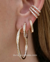 Wholesale fashion jewelry brass cc earrings large gold ring type huggie hoop earrings clip on earing