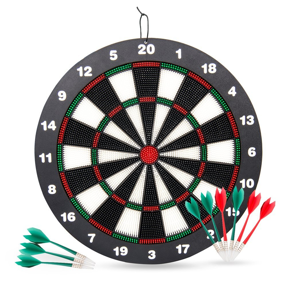 Victostar Safety Dart Board Set for Kids,16.4 inch Rubber Dart Board with 9 Soft Tip Darts for Kids,Great for Office and Family