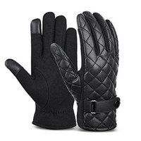 Mens fashion winter warm PU leather driving gloves diamond back