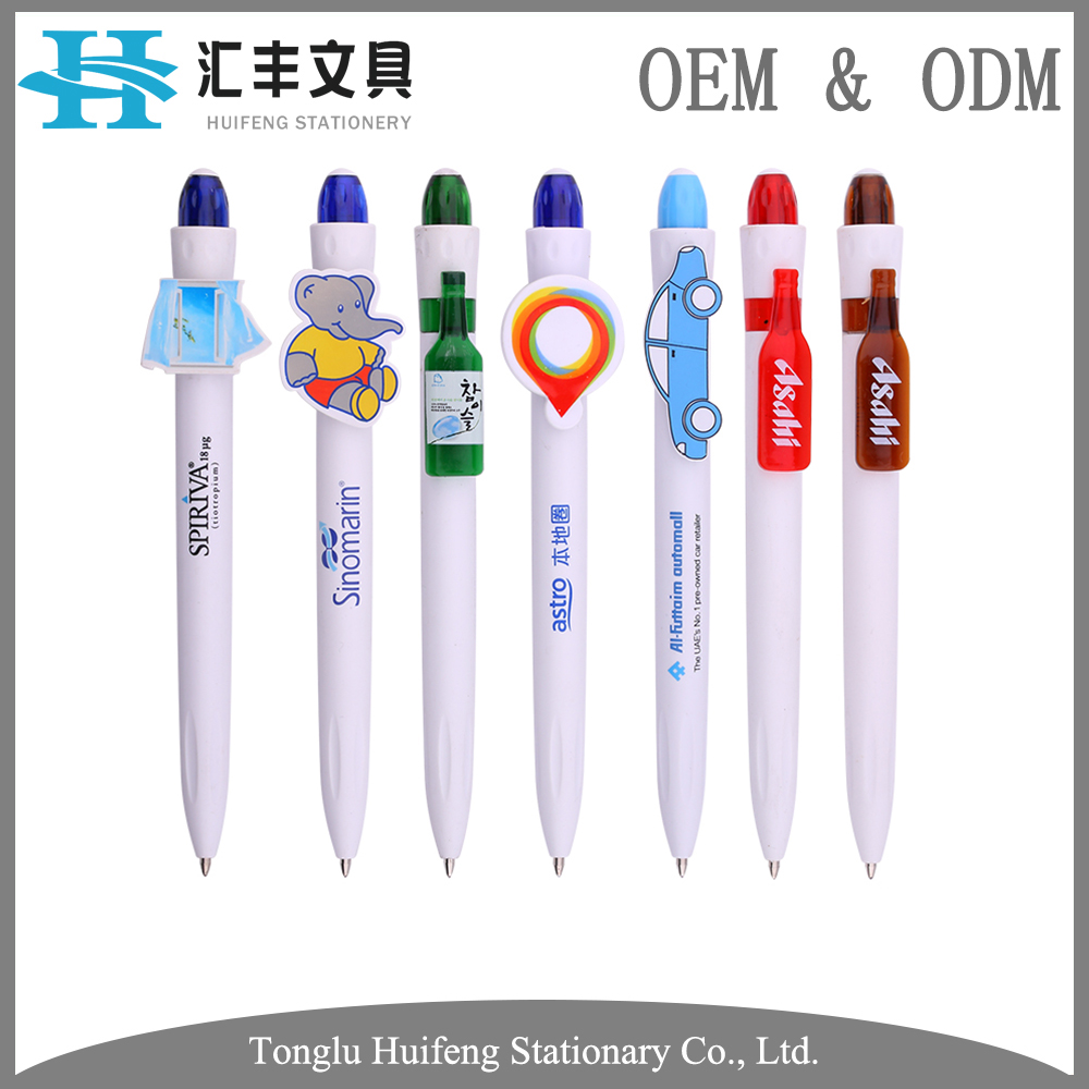 OEM design white plastic animal clip promotional cute ball pens with custom logo