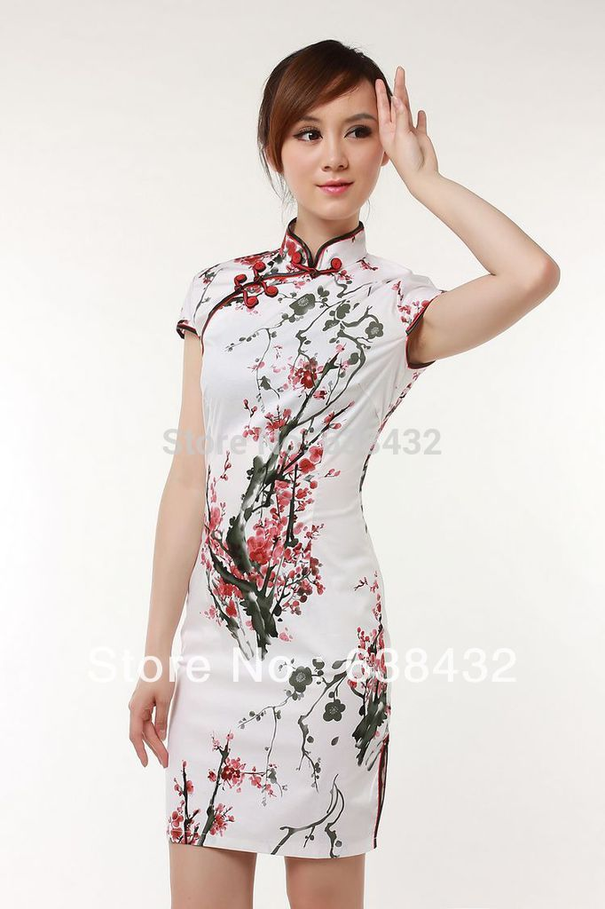 db5bc500d Get Quotations · Free Shipping 2015 plum blossom printed classical  traditional chinese dress lycra cotton qipao Dresses red wedding