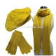 HZM-14218007 Mustard woman yellow soft feel Knit Beret Hat Scarf & Glove Set