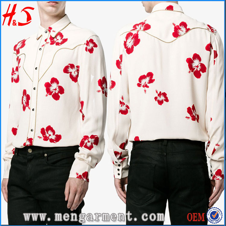 New Model Hawaiian Shirt Floral Print Long Sleeve Shirts For Men