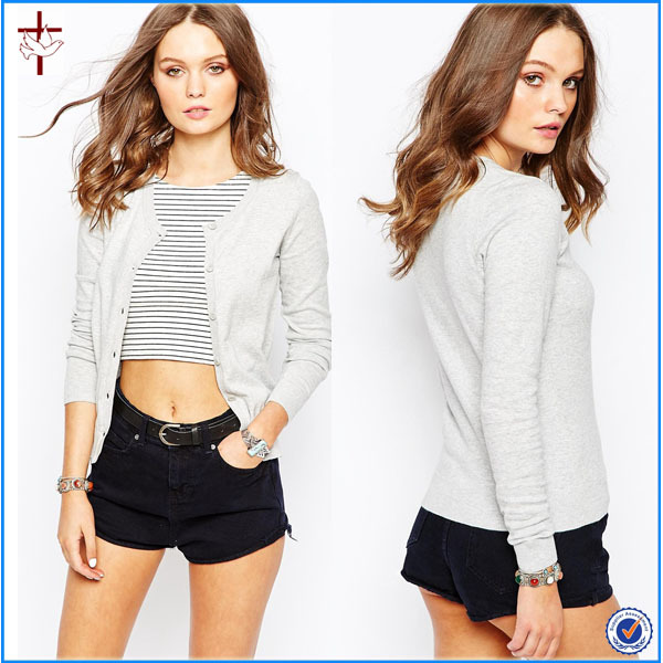 2016 New Look Crew Neck Cardigan/thermal cardigan for women