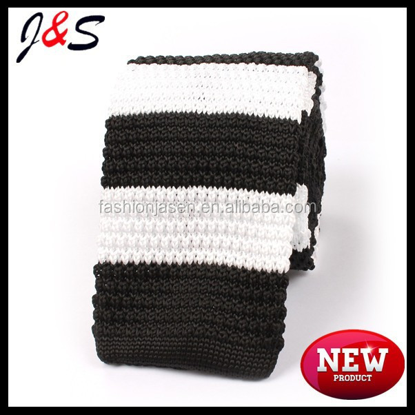 New arrival mens black white thick stripes knitted tie KT035