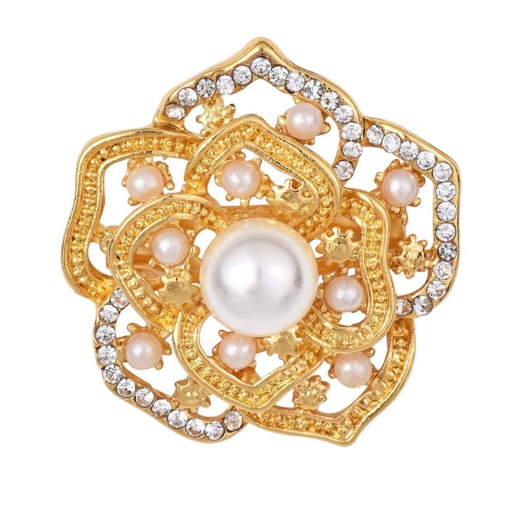 3a46ff3cebd Get Quotations · Rhinestone Crystal Hollow Out Gold Color Brooches Pins Dress  Sweater Jewelry Romantic Simulated pearl Brooch Pin