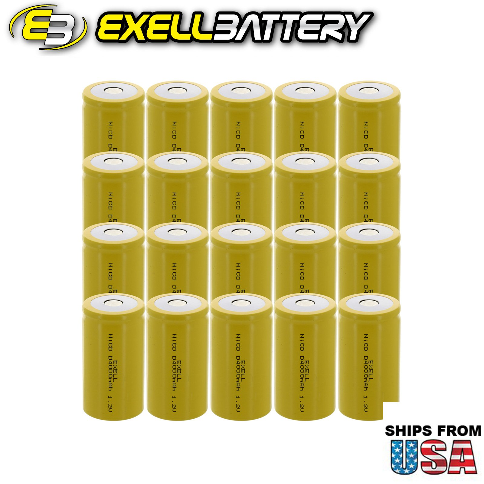 20x Exell D Size 1.2V 4000mAh NiCD Flat Top Rechargeable Batteries for high power static applications (Telecoms, UPS and Smart grid), electric mopeds, meters, radios, RC devices, electric tools