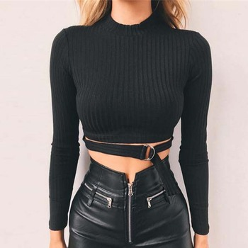 FS0016D 2019 New Fashion Women Long Sleeve black Crop Top