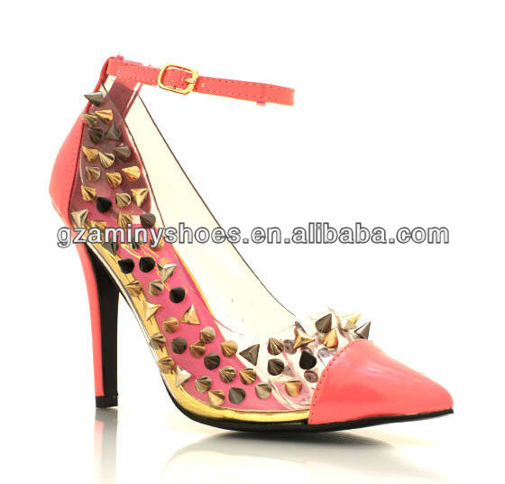 Studded pointy high shoes heel toe rr8Rqv