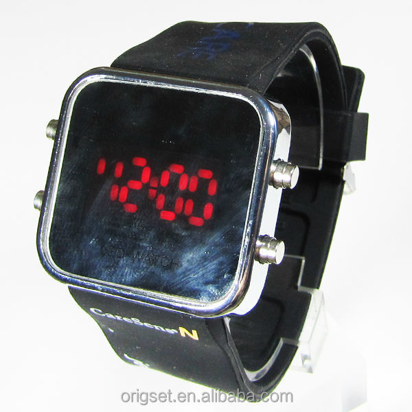 LED flash mirror led silicone watch