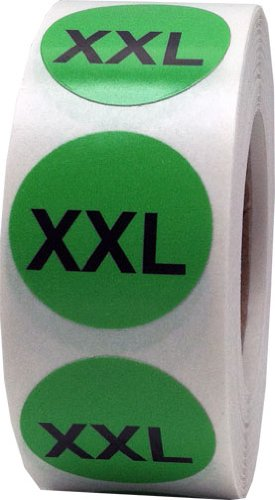 Green Round Clothing Size Stickers XXL - Extra Extra Large Adhesive Labels for Apparel Retail - 500 Total