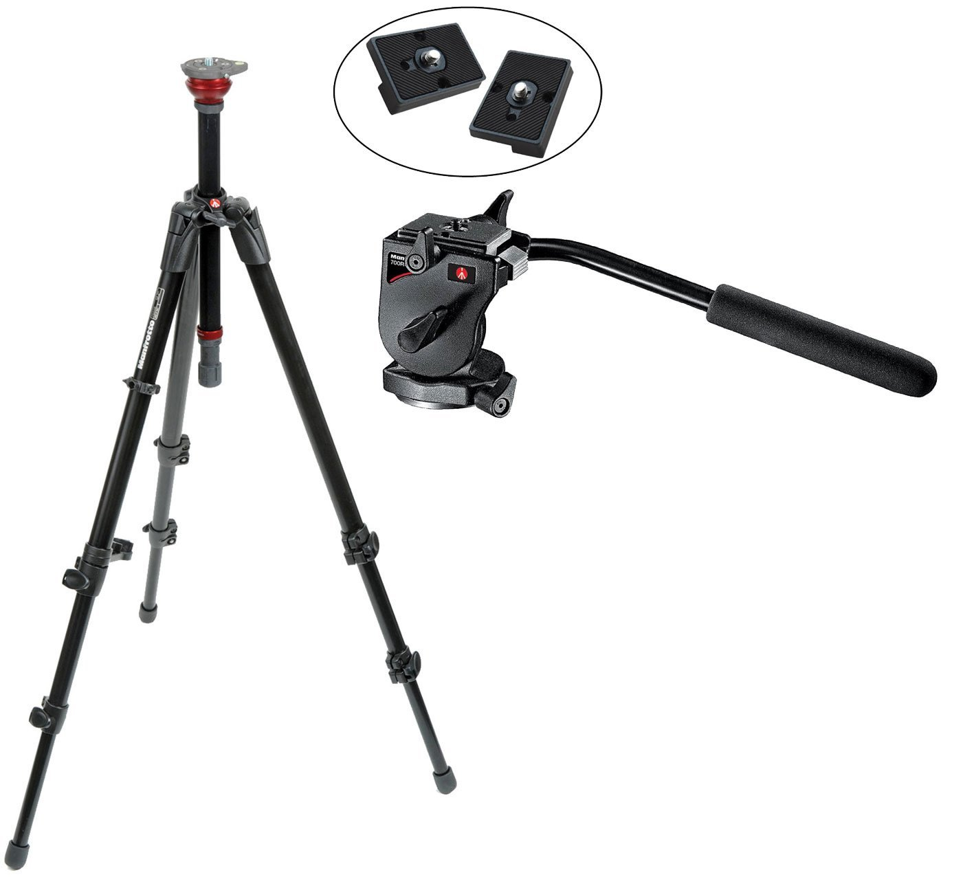 Buy Manfrotto 755xb Mdeve Aluminum Tripod With Built In 50mm Ball Mvh500ah Fluid Video Head Leveler 700rc2 Mini Rc2 Rapid Connect Plate And 2 X Qr For