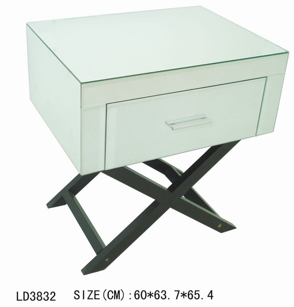 Mirror End Table With Attached Lamp