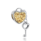 Key 925 Sterling Silver Bead Gold Family Locket Key Heart Dangle Charm Bead Fit Original Bracelet DIY Jewelry Making