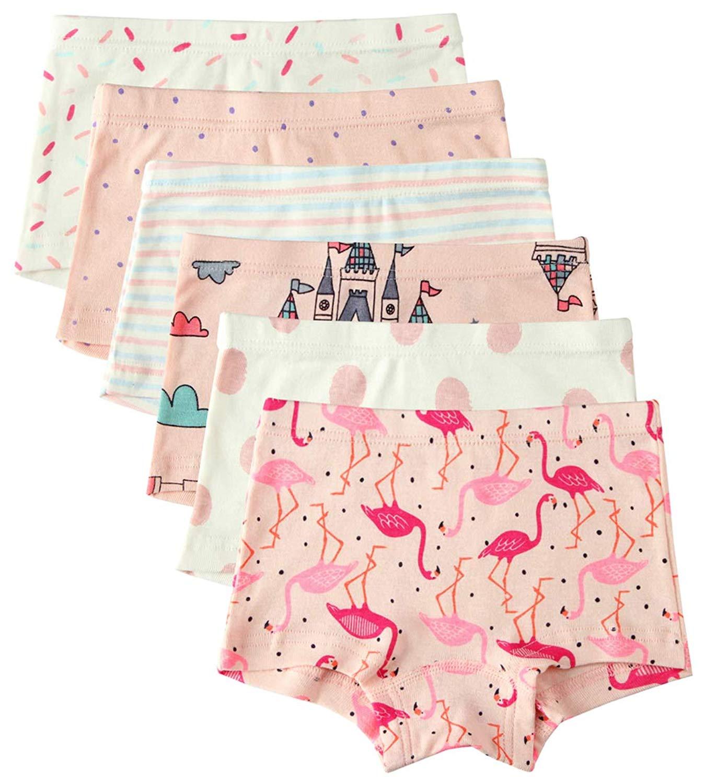 12beb2e968 Get Quotations · 6 Pack Little Girl Underwear Cotton Baby Girls Boyshort Panties  Toddler Girl s Undies