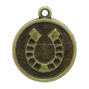 Antique bronze horseshoe lucky disc metal pendant charms