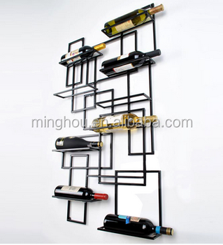 Minghou Wall Mount Wine Rack Bottle Shelf Hanging Metal Decor Art Vintage Style Storage Bar Mounted Mental Wire Decorative