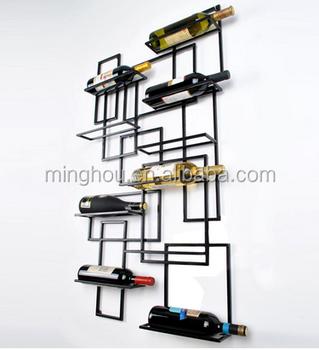 Minghou Wall Mount Wine Rack Bottle Shelf Hanging Metal Decor Art