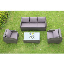 PE Rattan And Aluminum Frame Conversation Leisure Sofa Set Indoor And Outdoor Use