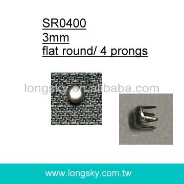 (#SR0400/3mm) flat top 4 prong metal decorative studs for clothing