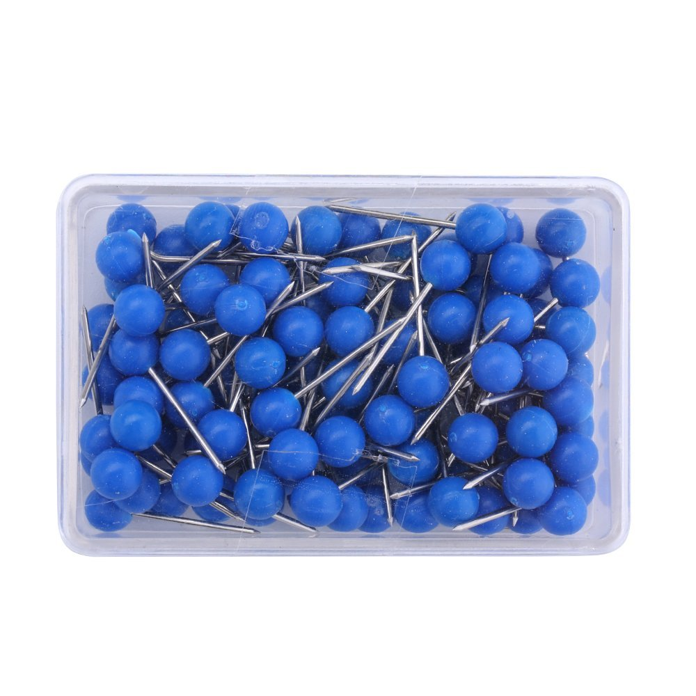 1/8 inch Map Tacks, Push Pins, Plastic Round Head, Steel Point,103-Count,Blue