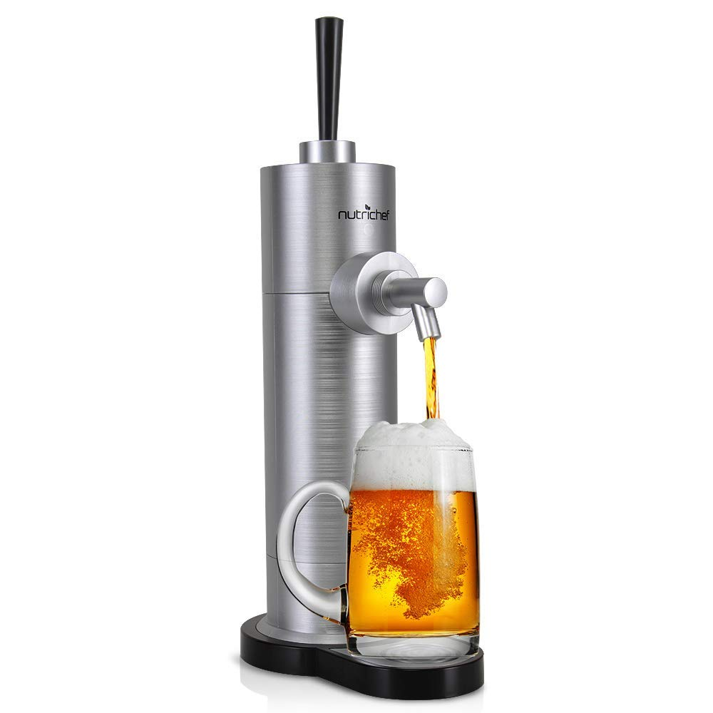Portable Electric Drink Beer Dispenser - Beer Tap Pump Automatic Alcoholic Server - Battery Powered System, Stainless Steel Look for Countertop, Party, Bar and More - NutriChef PKBRFMSR22