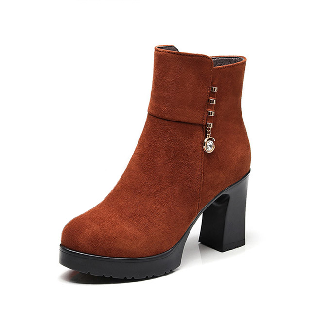 PU Round Toe Chunky Heel Ankle <strong>Boots</strong> 2018 Women Fashion High Heel Shoes Ladies Roman <strong>Boots</strong>