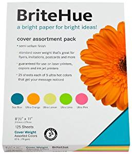 Mohawk BriteHue Vellum Cover Assortment Pack 65 Cover, 8.5 x 11 Inches, 125 Sheets per Pack (25 Sheets each) (Sold as 1 Pack), Ultra Lemon, Ultra Orange, Ultra Lime, Ultra Pink, Sea Blue (109992)