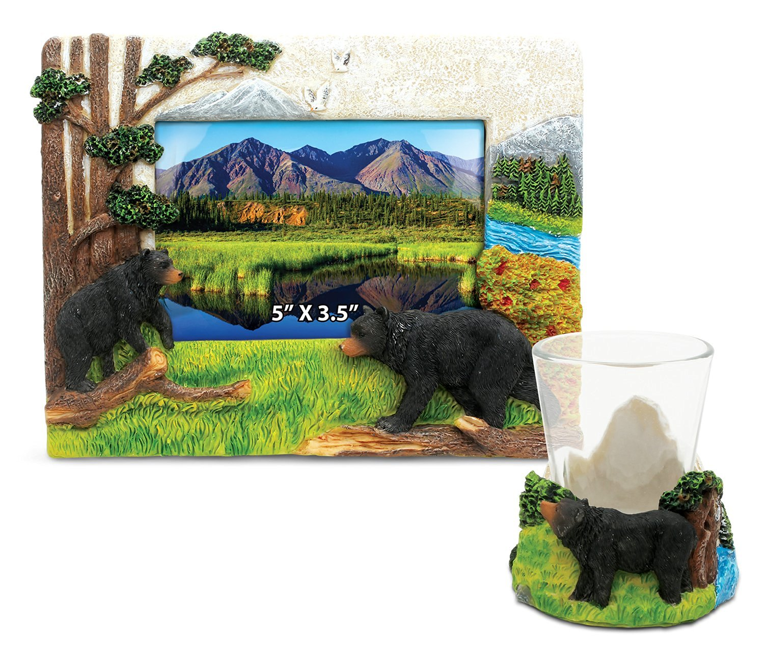 Puzzled Black Bear Resin Stone Finish Collection including Picture/Photo Frame and Shot Glass - Picture Size 5 by 3 - Unique Elegant Gift and Souvenir