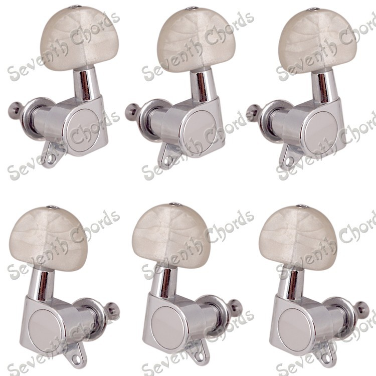 buy a set white pearl button sealed string tuning pegs tuners machine head for. Black Bedroom Furniture Sets. Home Design Ideas