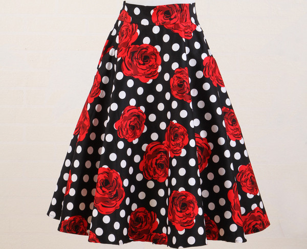 rock n roll party club black white polka dot red floral a line midi skirt for women