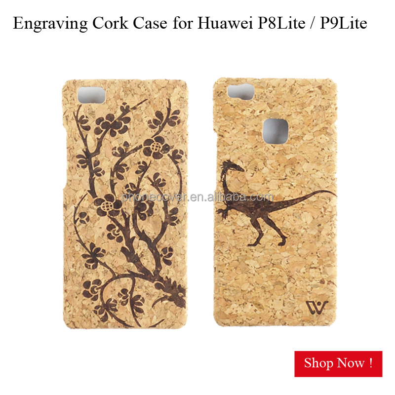 Hot Selling Real Cork Wood Case for HUAWEI P8 lite for P9 lite Slim Laser Plating Plain Phone Cover for Honor 9