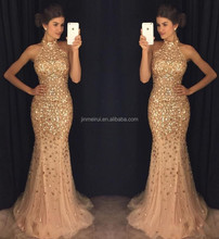Luxurious Mermaid 2017 Arabic Evening Dresses High Neck Beaded Crystals Tulle Prom Dresses Sparkly Sexy Formal Party Gowns