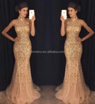 Sirena Lujoso 2017 árabe Vestidos De Noche De Cuello Alto Con Cuentas Cristales Tul Vestidos De Baile Brillante Sexy Formal Vestidos Fiesta Buy
