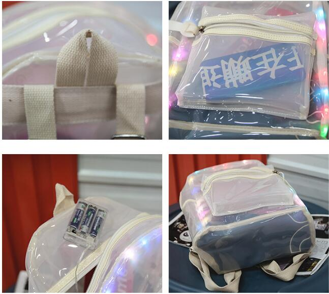 2018 fashion clear transparent PVC backpack with led lights