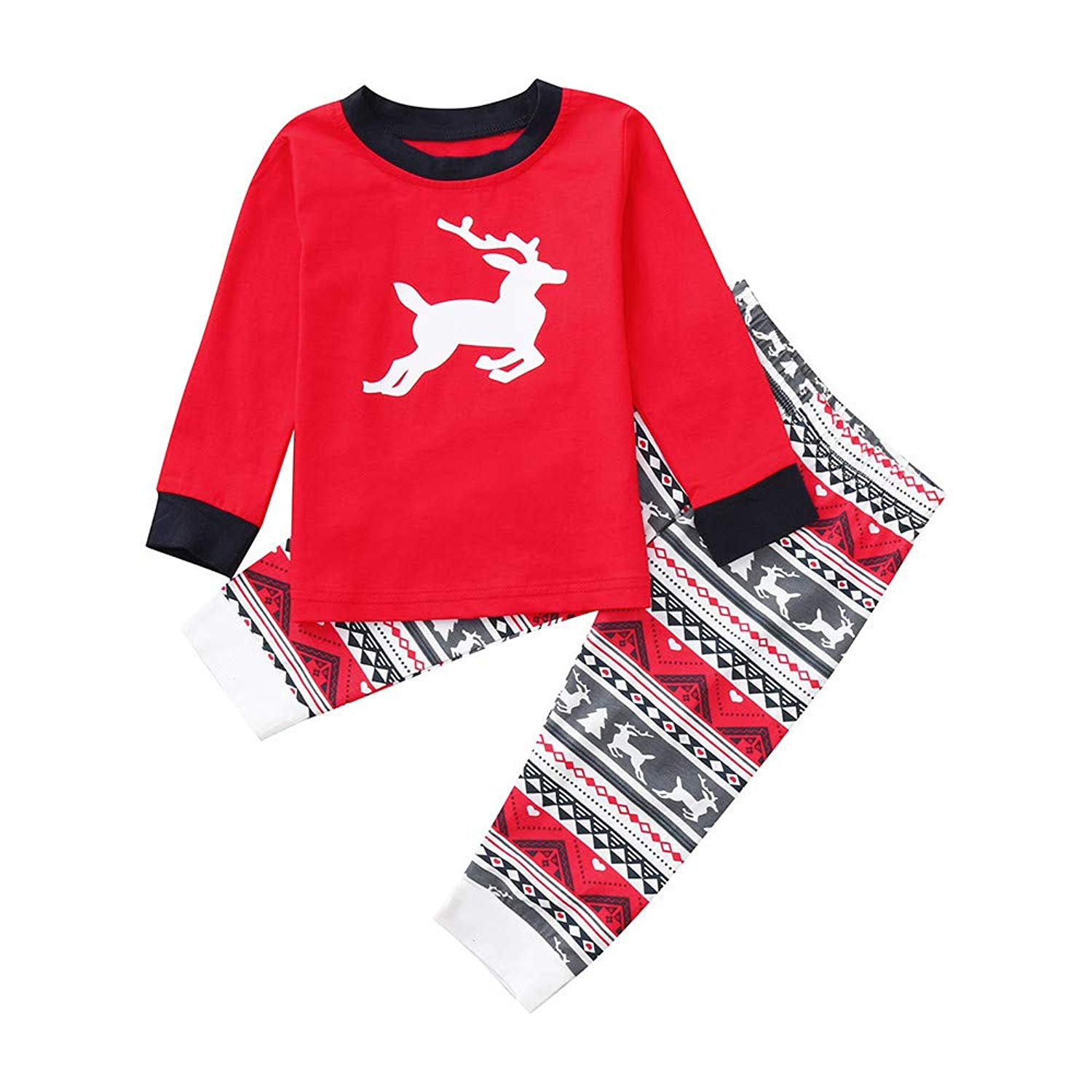 77ad76419a Get Quotations · Jchen(TM) Dad Mom Me Christmas Deer Print Tops Pants Family  Pajamas Sleepwear Christmas