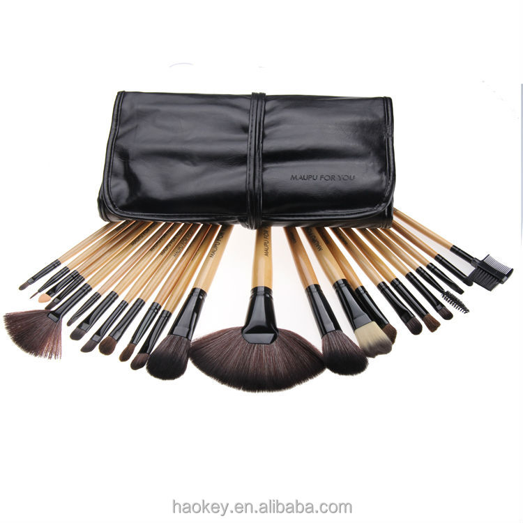 wood handle light brown color 24pcs custom logo makeup brushes