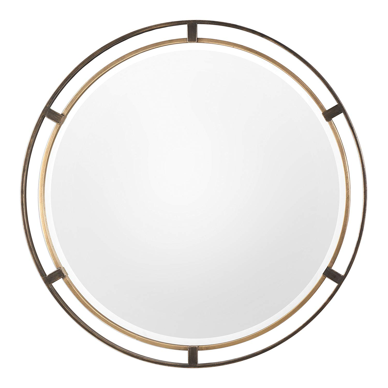 Get Quotations Mid Century Modern Gold Bronze Round Mirror 36 Thin Frame Minimalist Metal