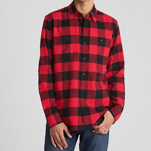 Mens Custom Fitted Classic Red Black Buffalo Checked Plaid Flannel Pocket Shirt