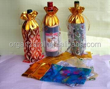 china manufacturer export high quality organza bags any size bottle wine packing