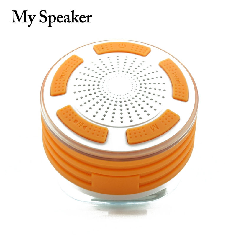 My speaker F013 white with orange waterproof bluetooth speaker with 5W subwoofer