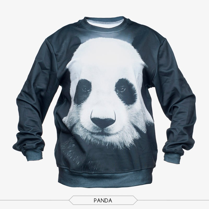 2015 spring and autumn fashion casual long sleeve o-neck 3d panda animal printed sportwear sweatshirts hoodies free shipping
