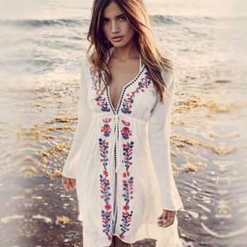 9a1ae437c4102 Walson Women s Long Lace Swimsuit Bikini Cover Up Beach Dress Bathing Suit